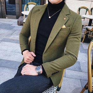Blazer de color sólido Blazer Black Khaki Green Blend Blazer Hombres Otoño e invierno 2021 Jacket de una camisa de alta calidad