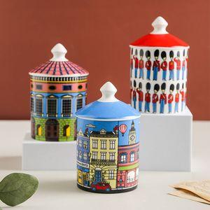 Castle Architecture Candle Holder Diy Handmade Candles Jar Retro Storage Bin Ceramic Caft Home Decoration Jewerlly Storage Box