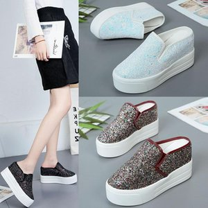 Increased Internal Flat Shoes Female Womens Slippers Outdoor On A Wedge Slides Heeled Mules Platform Fashion Loafers Cover Toe H