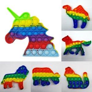 Fidget Brinquedos Bubble Pop Arco-íris Puzzle Silicone Descompressão Anti Stress Relevo Bola de Brinquedo Engraçado 13 Dos Desenhos Animados Animais Formas H31SJEB