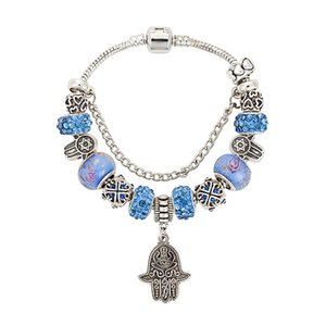 Charm Bracelets VIOVIA Blue Crystal Beads Hamsa Hand Bangles For Women Silver Color Alloy Bracelet Fashion Jewelry B15104