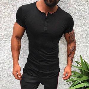 Mens Tshirt 2020 Sun Summer New Style Men Open Tube Short-sleeved Shirt Semi-Open-Collar Button down T-shirt Shirt