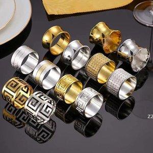 Gold Silber Serviette Ring Edelstahl Servietten Schnalle Hotel Hochzeit Tisch Dekoration Handtücher Dekor Aushöhlen Ringe HWB7475