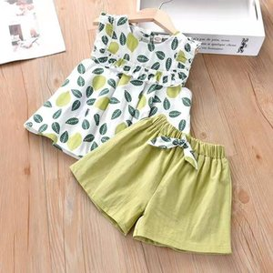 baby girl clothes suits sleeveless T-shirts and fashion shorts middle and small kids clothing cotton designer clothes