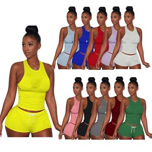 Summer Women jogger suit 2 piece sets vest shorts 2XL tracksuits fashion sportswear tank top casual clothing capris free shipping 4485