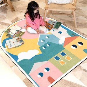 Carpets Irregular Nordic Style Cute Arched Rug Cartoon Pattern Children Room Crawling Carpet Home Bedroom Lint-Free Rugs Area Floor Mat