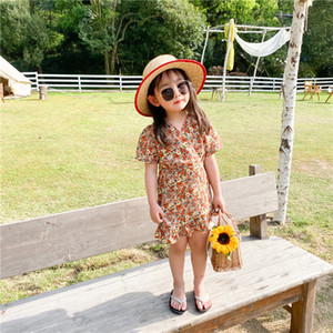 hot new korean ins fashions Girls flower dress cute children v neck summer kids princess dress