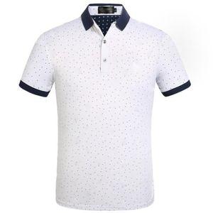 Mens Designer 폴로스 셔츠 브랜드 폴카 도트 인쇄 남성 의류 칼라 캐주얼 T 셔츠 티셔츠 탑승