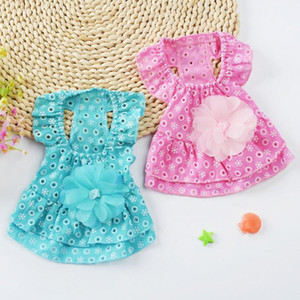 Dog Dress Cotton Lace Flower Princess Style Breathable Skirt Puppy Summer Clothing Apparel Costume Pet Supplies