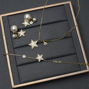 D Famiglia / Dijia New Star Pearl Orecchini perla Catena corta collana Piccola fragranza Pendente a sospensione Light LUXURYNJKO
