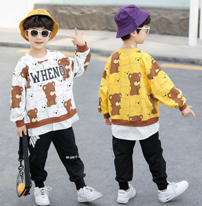 Fashion Boys bear printed sports outfits 2021 spring new kids cartoon printed sweatshirt+sports pants 2pcs kids casual clothing A5930