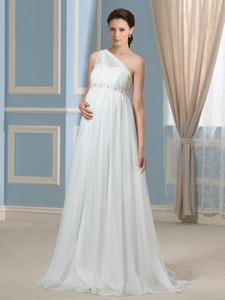 2021 New Empire Waist 1 숄더 페르시 임신 결혼식 시폰 신부 가운 Vestido Noiva Robe de Mariee Hot Zcpu