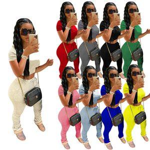 Womens sportswear short sleeve outfits 2 piece set women tracksuit jogging sport suit sweatshirt shirt leopard trousers suit klw0788