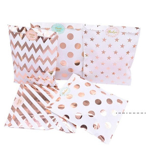 Gift Paper Bag Polka Dot Ripple Pattern Pouch Rose Gold Paper Food Safe Bags Birthday Wedding Party Favors For Guests EWB5258