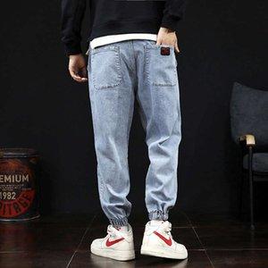 Mens Harem Fashion Washed Jeans per uomo Elastic Waist Coulisstring Denim Pants Plus Size
