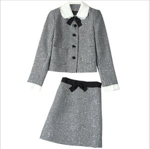 819 XL 2021 Brand Same Style Autumn Flora Print Tweed Lapel Neck Coat Short Skirt Beads Plaid Womens Clothes Empire Fashion Casual Prom Dresses lanyi