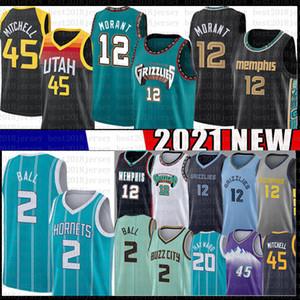 JA 12 Morant Lamelo 2 Ball Donovan 45 Mitchell Hayward Basketball Jersey UtahJazzMemphisGrizzliesCharlotteHornissen