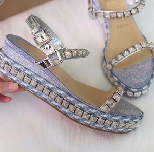 Popüler Kadın Takozlar Kırmızı Alt Ayakkabı Pira Ryad Glitter Deri Ayak Bileği Kayışı Platformu Sandalet Ünlü Bayanlar Düğün Parti Elbise Kutusu Ile