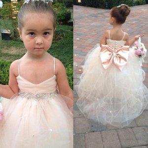2021 Pageant Dresses For Girls Spaghetti Sleeveless Flower Girl Dresses White Ivory Champagne Kids Ball Gowns Wedding Dress Sash Beading Belt