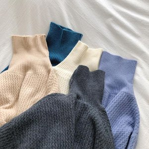 Women's Sweaters Solid Turtleneck Knitted Women And Pullovers Vintage Simple Preppy Style Sweater Females Chic Fashion Winter Jumper