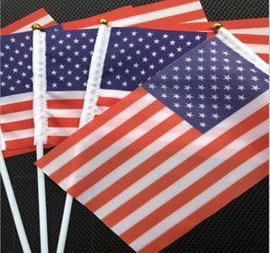 Usa American Flag Hand Held Mini Flag American Festival Party Supplies Flag Stainless Steel Flagpole Polyester party Decoration GWB10523