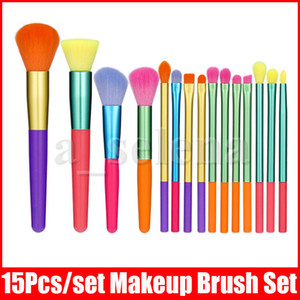 Face Eye Makeup Brush Set 15 Pcs Colorful Handle Brushes kit Eyeshadow Eyeliner Blending Eyelash Lip Brushes Cosmetic Eyebrow Make Up Tool