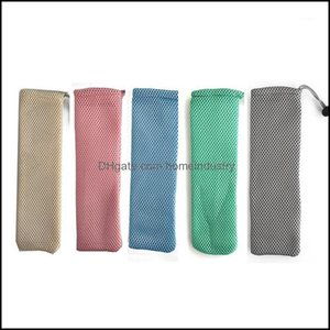 Drinking Sts Barware Kitchen, Dining Bar Home & Garden50 Pcs Lot Portable Stainless Steel Storage Mesh Bag Reusable St Pouch Picnic Cam Chop