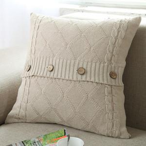 Knitting Button Throw Pillow Case Cafe Sofa Cushion Cover Home Decor Housse De Coussin Decorative Pillows Cojines Navidad GWC6169