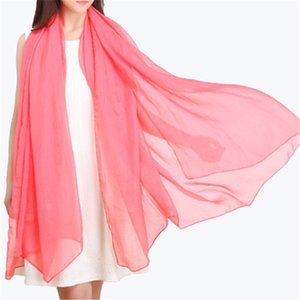 Solid Color Chiffon Sunscreen Scarf 180*75CM Long Pure Color Silk Summer Chiffon Scarf Shawl Sunscreen Beach Towel GWD4940