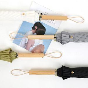 Novos guarda-chuvas de madeira de madeira personalizável promoção sólida golfe forte impermeável unisex guarda-chuva proteção uv guarda-chuva fwa3771