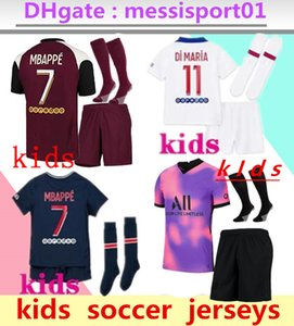 Kids 2020 2021 MBAPPE Paris Soccer Technys 3RD 4HT Наборы 20/21 Париж Майлот Icardi Boys Full Set Униформа Футбольная рубашка
