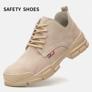 Erkek Botları Kauçuk Alt Sonbahar Ve Kış Ayakkabı Ayak Bileği Koruma İş Çizmeleri Metal Toe Boyutu Çelik Toe Işık Nefes H3QN #