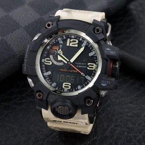뜨거운 판매 큰 진흙 왕 1000 스포츠 캐주얼 남자의 쿼츠 시계 방수 디지털 시계 세계 시간 자동 핸드 업 라이트