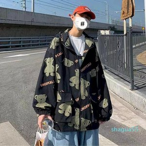 Men's Jackets 2021 Autumn Man Jacket Vintage Lovely Bear Print Zipup Hoodie Streetwear Loose All-match Hip-hop Fashion Plus Size Men