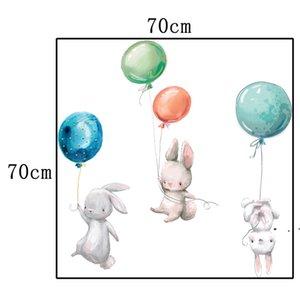 Tavşan Duvar Çıkartmaları Çocuk Odası Paskalya Duvar Sticker Dekorasyon Balon Bunny Çocuk Kız Kreş Duvar Çıkartması HWA3662