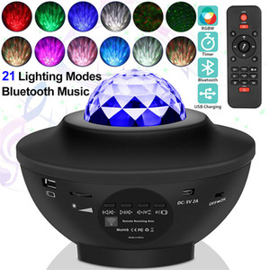 Newest USB LED Star Night Light Music Starry Water Wave LED Projector Light Bluetooth Projector Sound-Activated Projector Light Decor