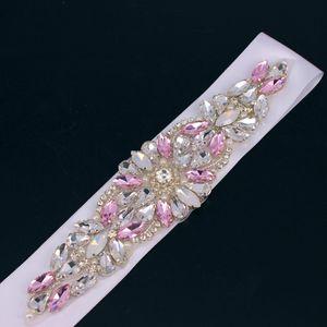 الوردي حجر الراين الزفاف الخصر حزام اللؤلؤ الساتان الشريط تقليم زين فستان الزفاف ثوب الاكسسوارات