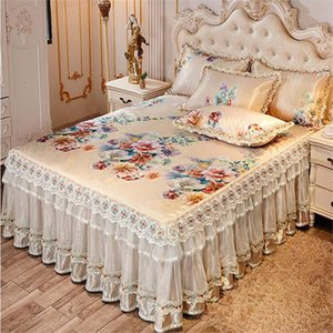 Cool Summer European Bedspreads Ice Luxury 3pcs Mat Lace Skirted Sheet Quality Bed Cover Machine Wash ss