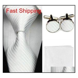 Accessori Ties For Men Solid Striped Pattern Business Tie Set Set di seta Hanky Fazzoletto Gemelli rossi Nero Qylpau Queen66