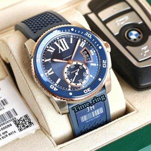 Tw Melhor Versão Calibre de WSCA0011 Blue Dial Rose Gold Steel Case Cal.1904-PS MC MC Movimento automático Mens relógio de borracha azul relógios