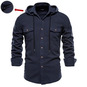 NEGIZBER Spring and Automne Nouveau Chemise à manches longues Homme Hommes Couleur Solide Couleur 100% Coton Chemise pour hommes Casual Homme Chemises 210310