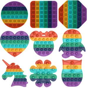 레인보우 푸시 팝트 fidget sensory 장난감 유니콘 자폐증 특별 필요성에 대한 불안 스트레스 reliever 사무실 근로자 형광