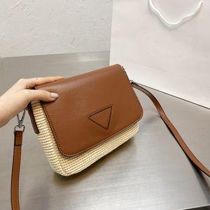 Коричневая квадратная кожаная сумка на ремне унисекс соломенная пляжная сумка классический дизайнер кошелек плетеный клапан вскользь стиль кошелек