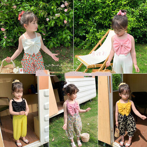 SK INS Newest Quality Korean Fashions Kids Girls Tops Big Front Bow Sleeveless Summer ChildrenV Neck Pleated Ruched Tops Tees