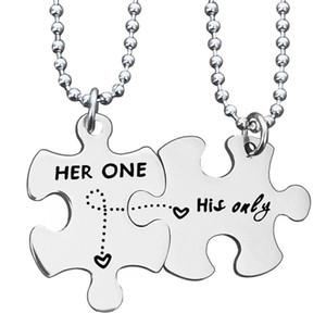 Stainless steel couple necklace Her one his online letter pendant necklace Valentine's Day couple necklace