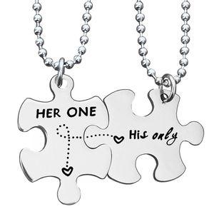 Edelstahl-Paar-Halskette ihre eins seine Online-Brief-Anhänger-Halskette Valentinstag-Paar-Halskette