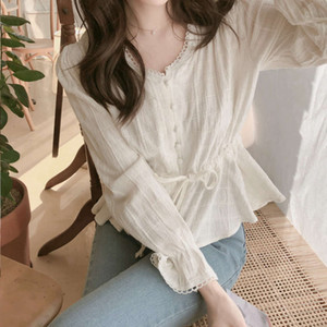 Sweet Chiffon Top with waist lace long sleeve V-neck T-shirt