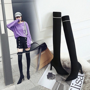 Marca Botas de calcetín de lana Mujer Slim Stovepipe Botas Largo Muslo Largo Botinas High Stretch Bota Feminina Tacón alto delgado Zapato Ridin F7LV #