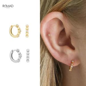 ROMAD Fashion Flower Hoop Earrings for Women Mini Exquisite Zircon Flowers Pierced Earings Silver 925 Jewelry Gift kolczyki