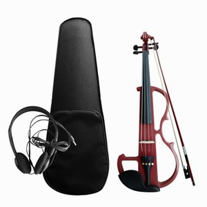 4 4 Electroacoustic Violin Kit Solid Wood Electric Silent Violin Fiddle Style Basswood Body Ebony Fingerboard Pegs Violin